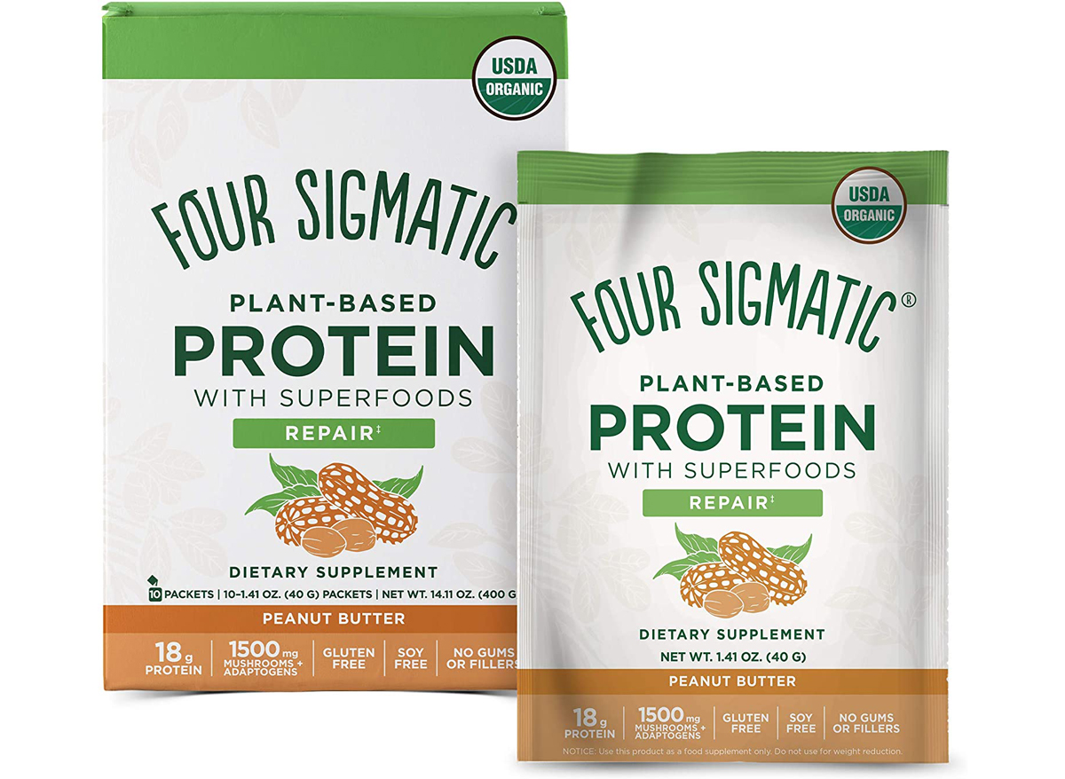 Four sigmatic plant based peanut butter protein powder