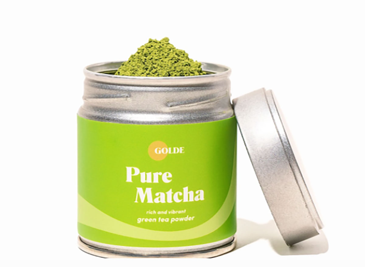 container of golde pure matcha