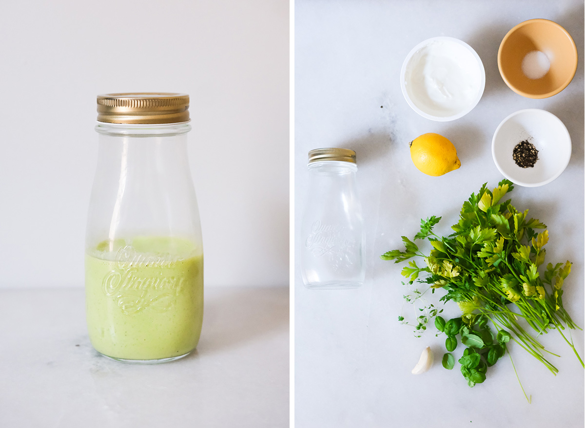 green goddess dressing with ingredients