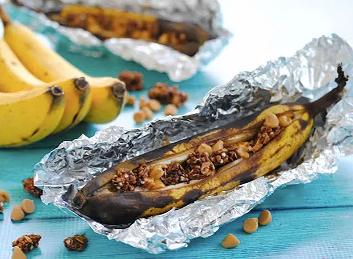 grilled banana boat with peanut butter chips and granola