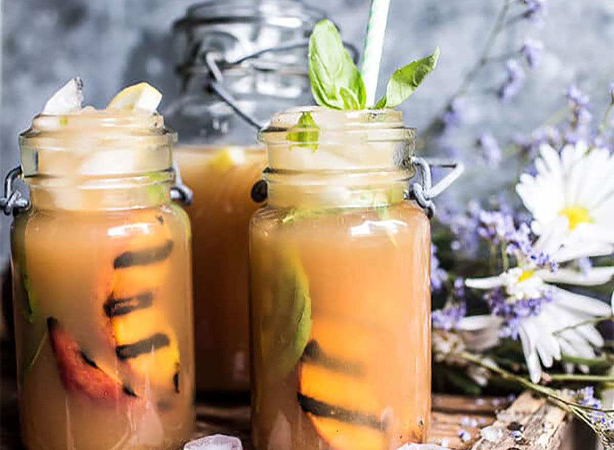 arnold palmers made with grilled peaches and basil
