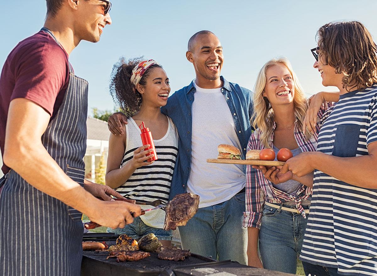 group eating outside