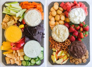healthy dips on a board with snacks