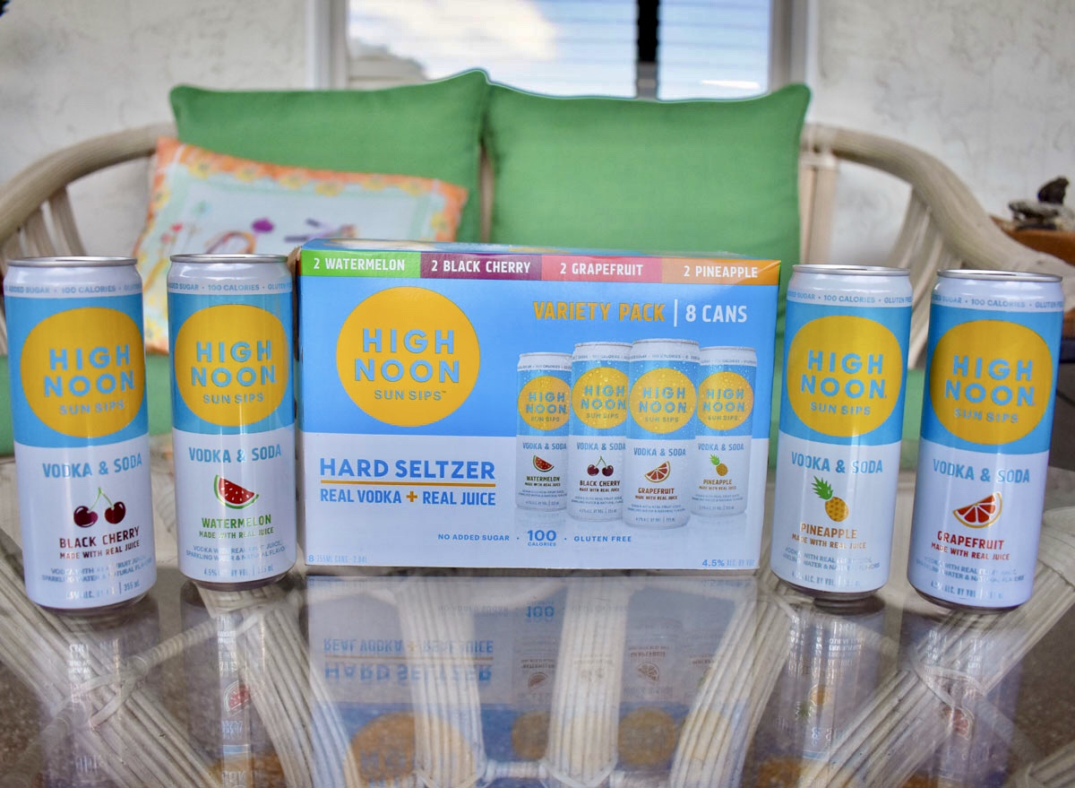 high noon spiked seltzer case with cans