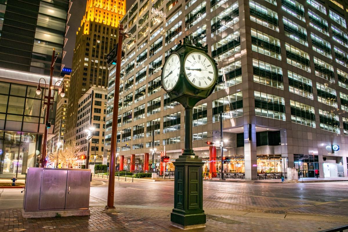 Historic City Clock at the Intersection of Main Street and Texas Street at Night Houston, Texas, USA