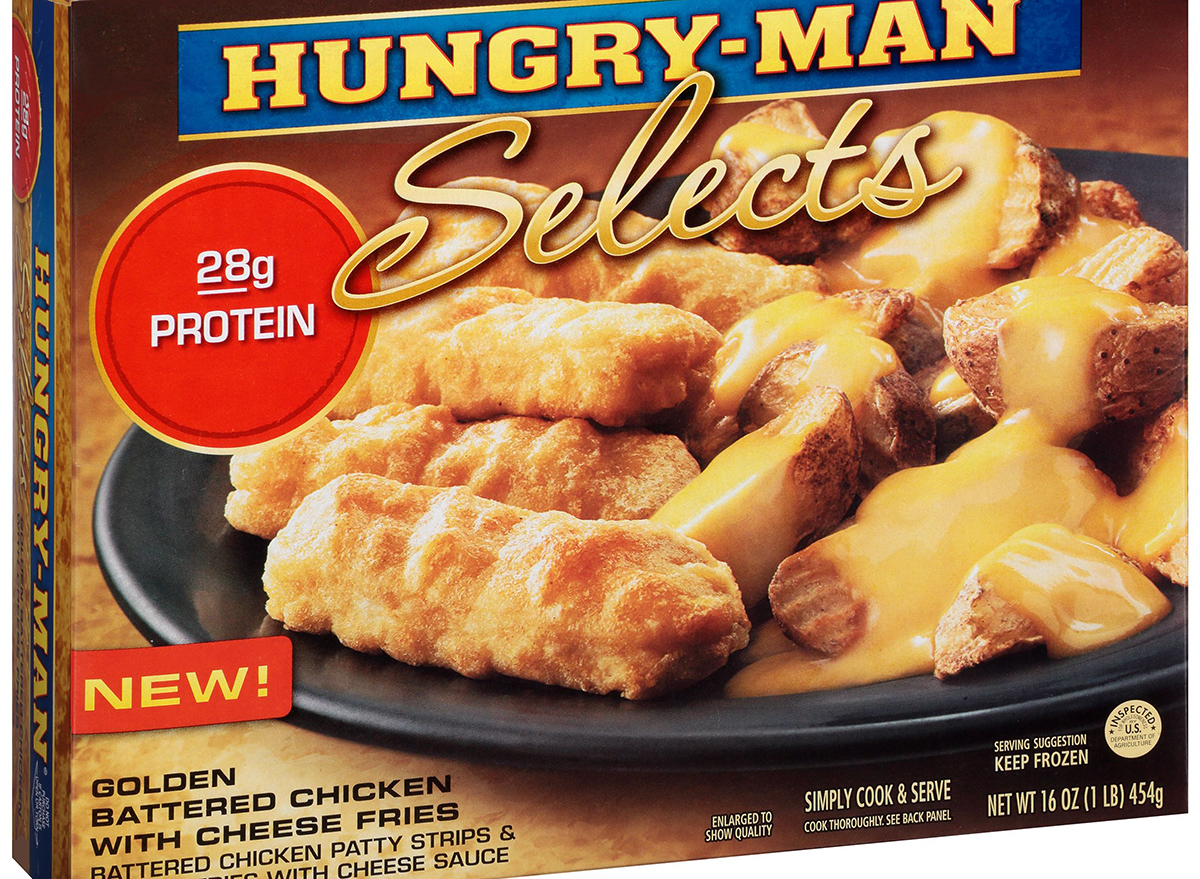 hungryman selects golden battered chicken with cheese fries