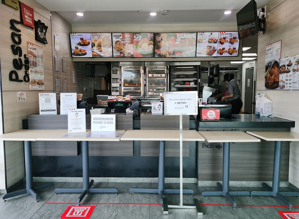 kfc social distancing signs in store