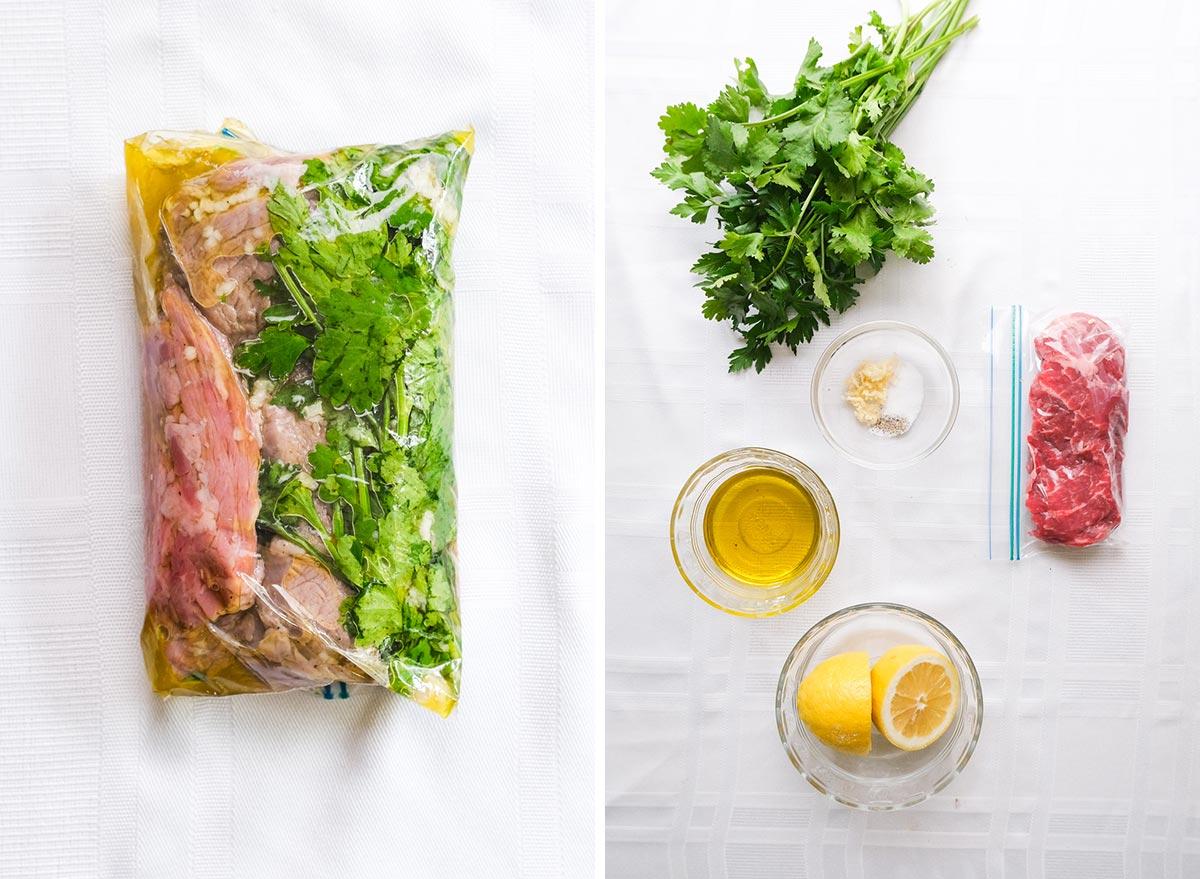 lemon herb steak marinade with ingredients