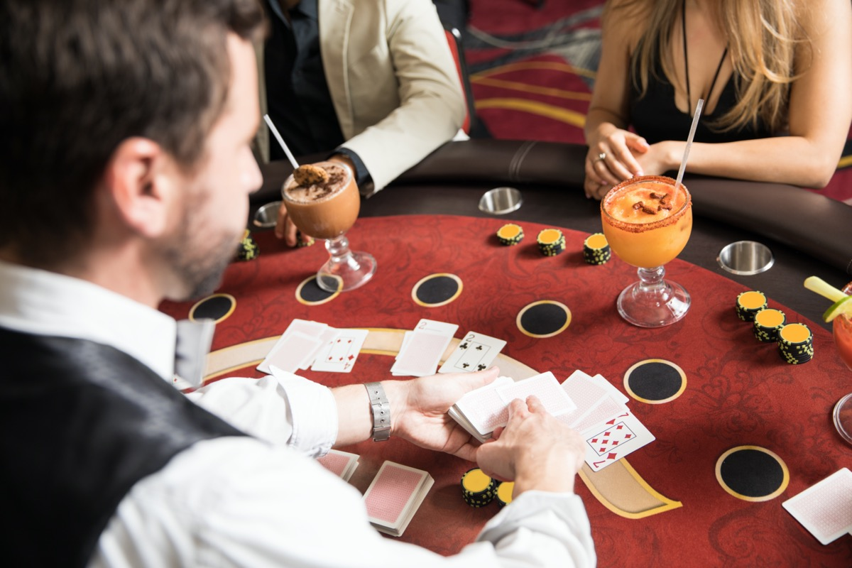 Point of view of a croupier at work in a blackjack table in a casino