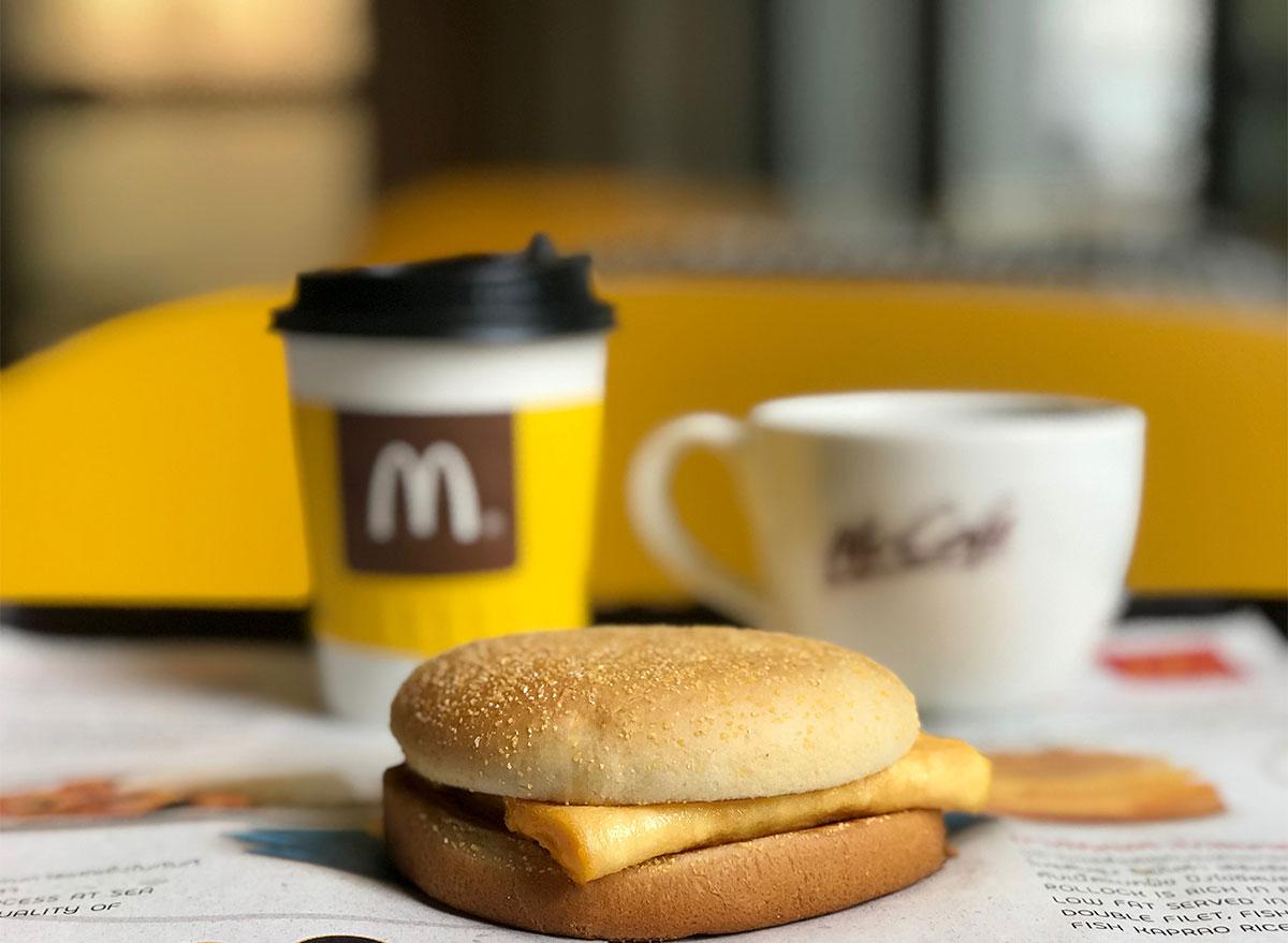 mcdonalds breakfast sandwich and coffee