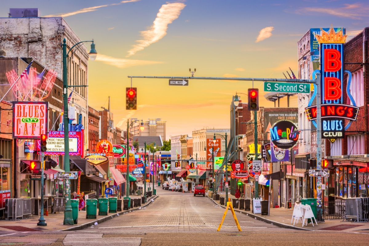 Blues Clubs on Beale Street at dawn in Memphis Tennessee.