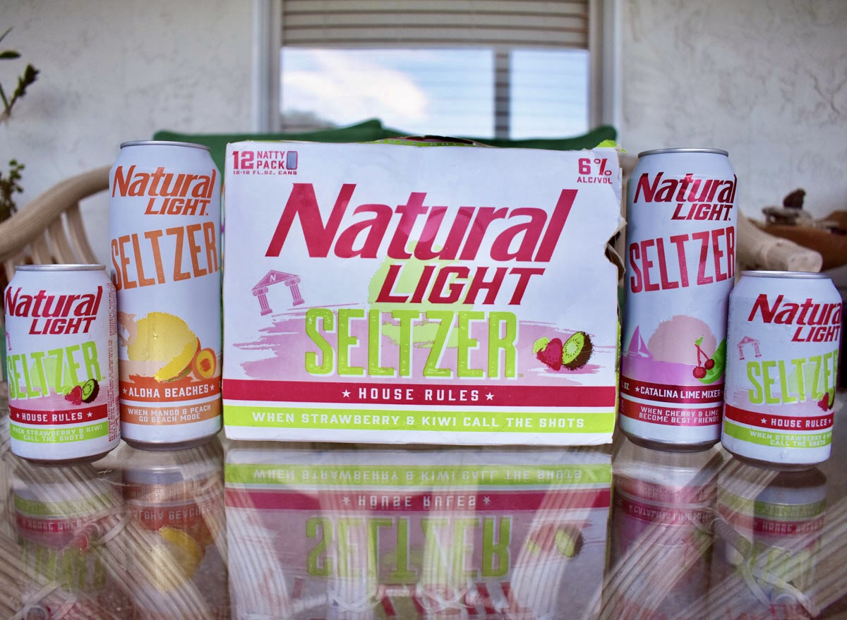 natural spiked seltzer case with cans