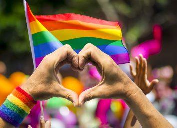 rainbow flag heart hands