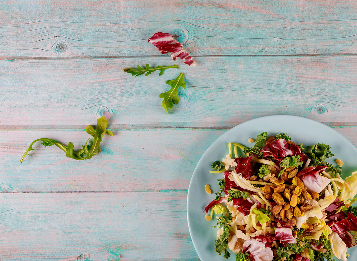 salad with brussels and pistachios