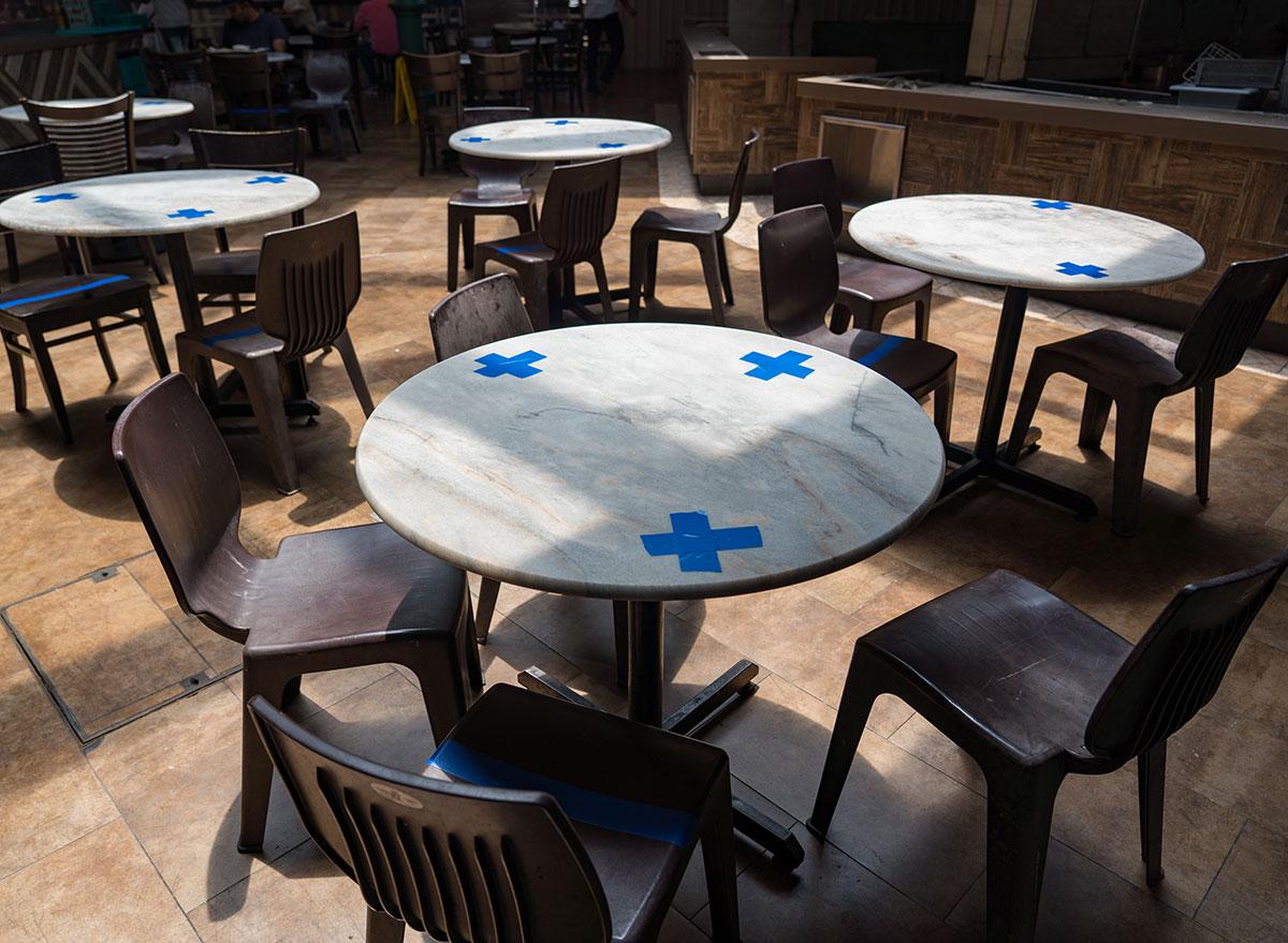 socially distanced tables