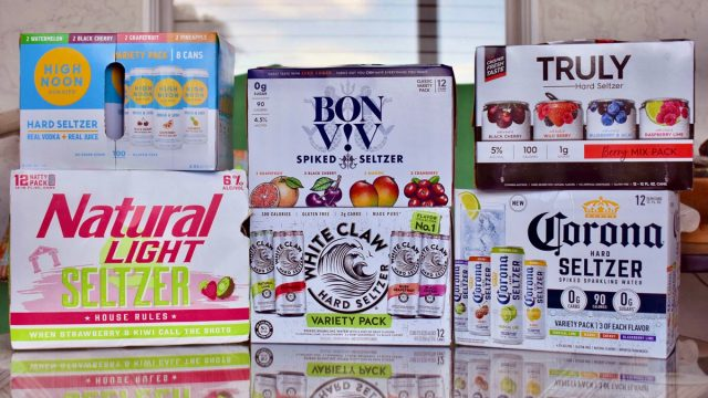 assorted spiked seltzer cases