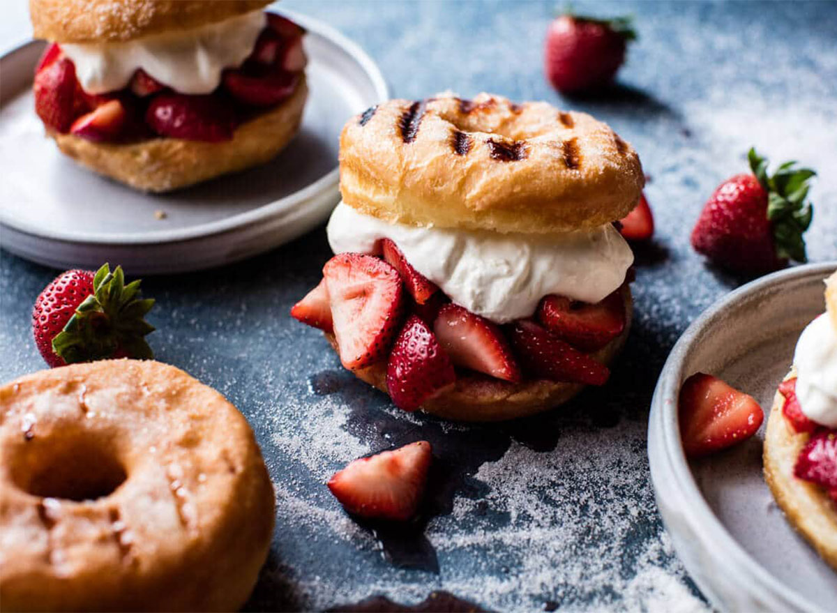 grilled donuts with strawberry shortcake filling