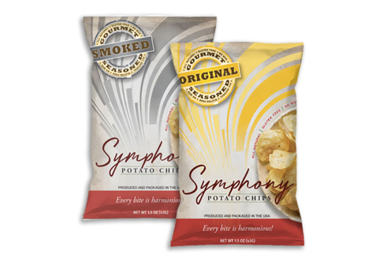 two bags of symphony potato chips
