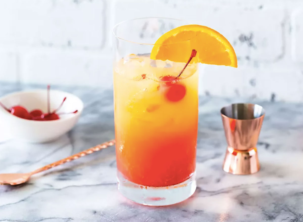 tequila sunrise cocktail on countertop