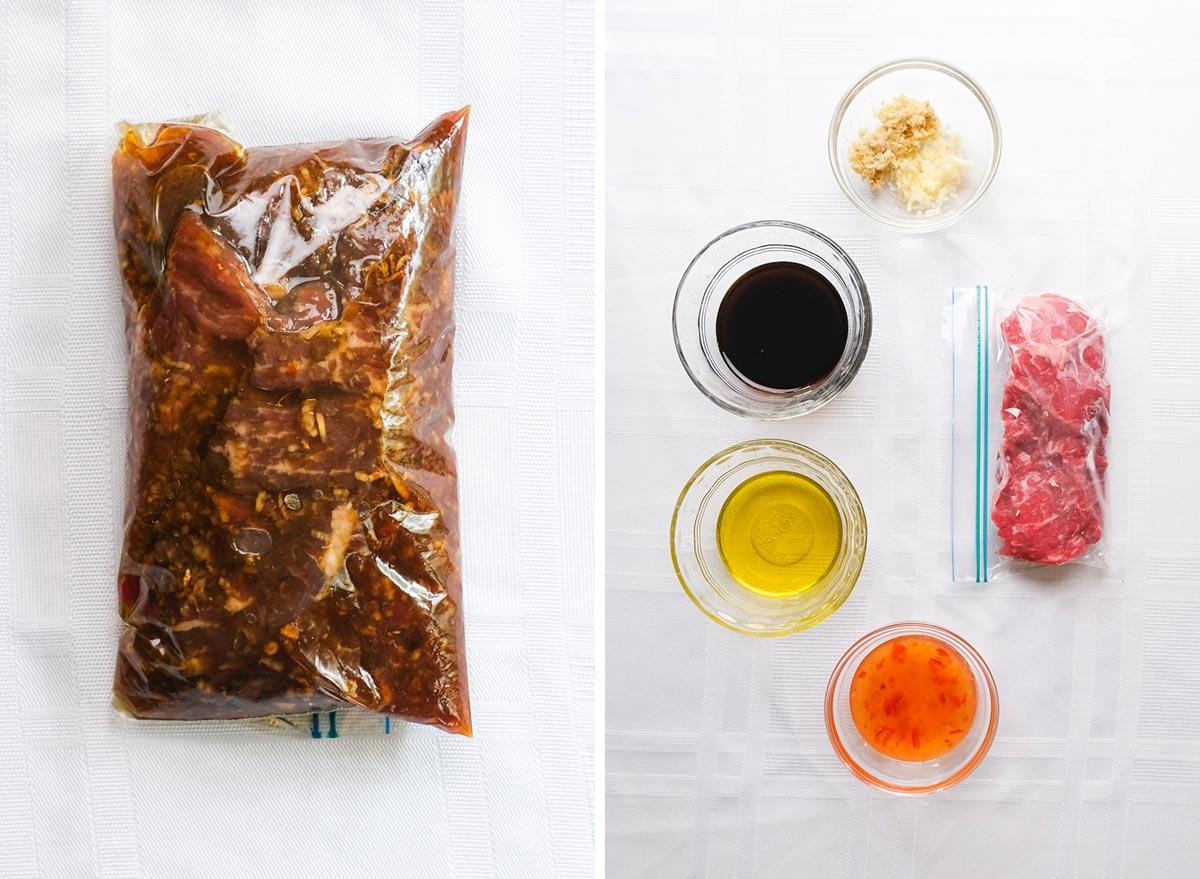 thai chili steak marinade with ingredients