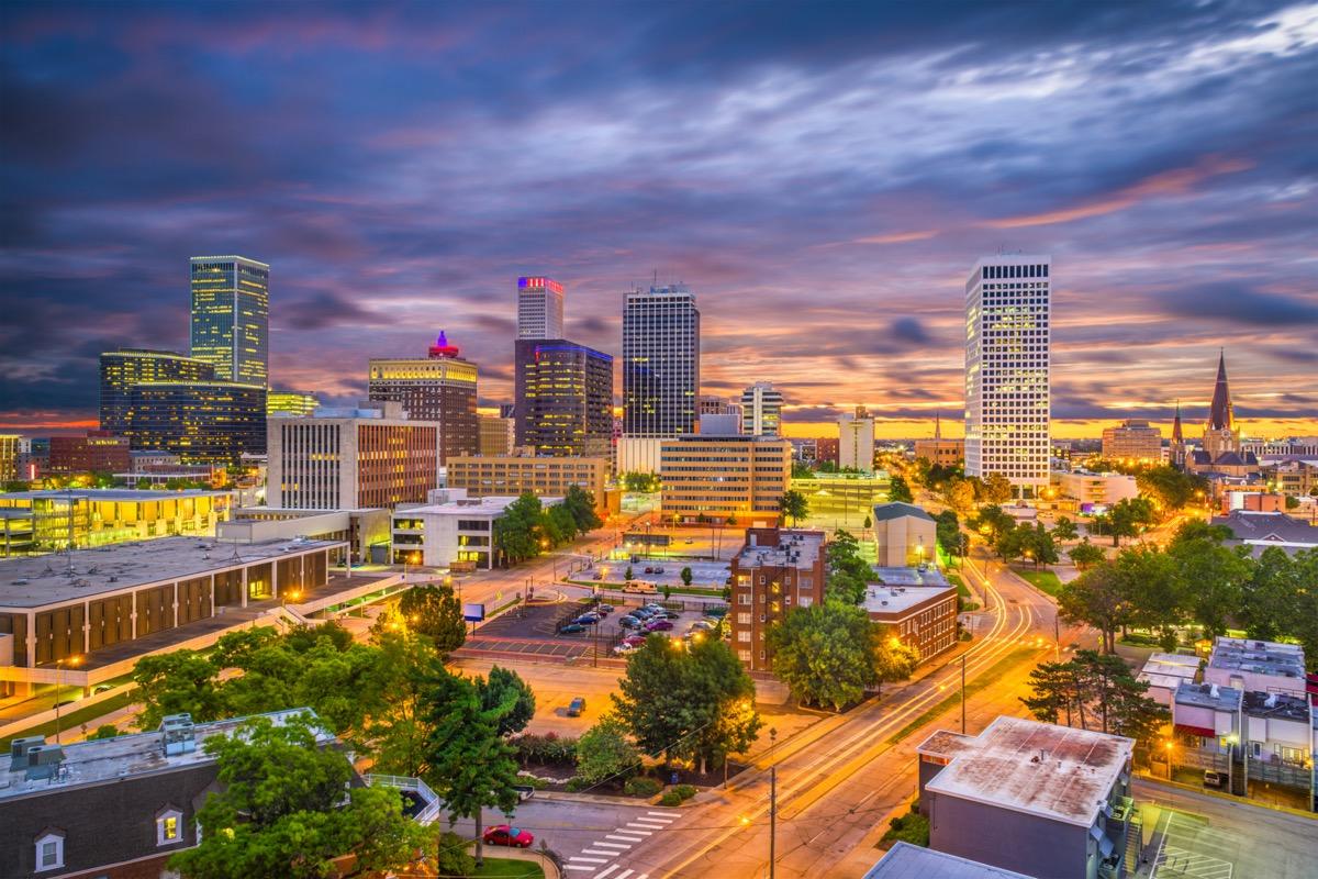 Tulsa, Oklahoma, USA skyline at twilight.