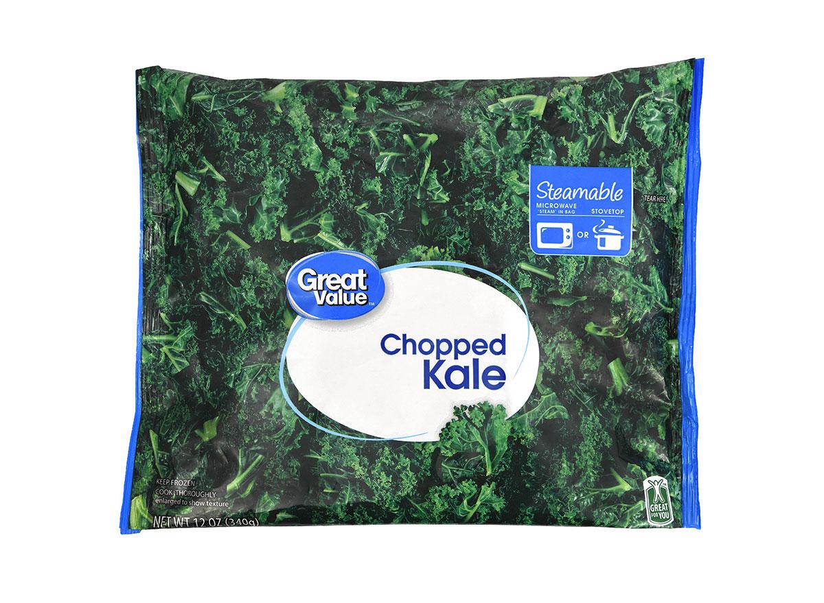 bag of walmart great value frozen chopped kale