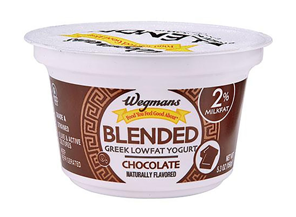 container of wegmans chocolate greek yogurt
