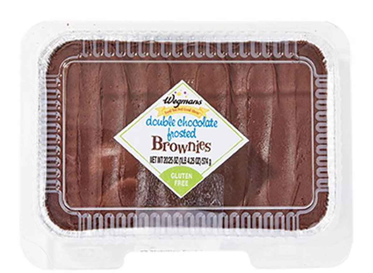 package of wegmans frosted chocolate brownies