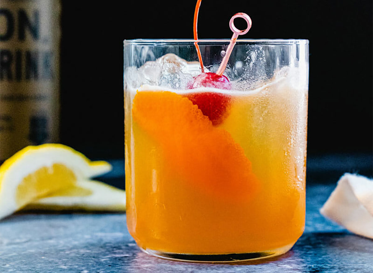 whiskey sour cocktail in glass