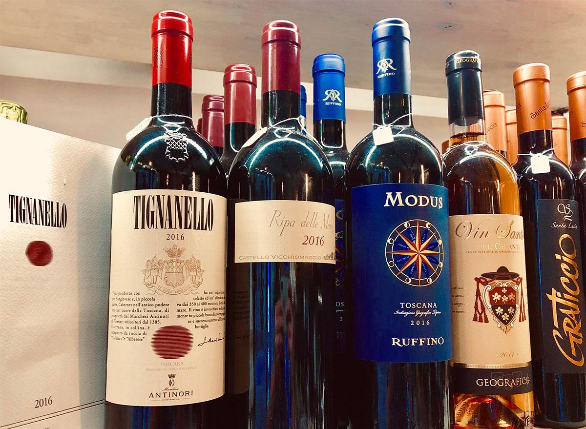 bottles of wine and tignanello