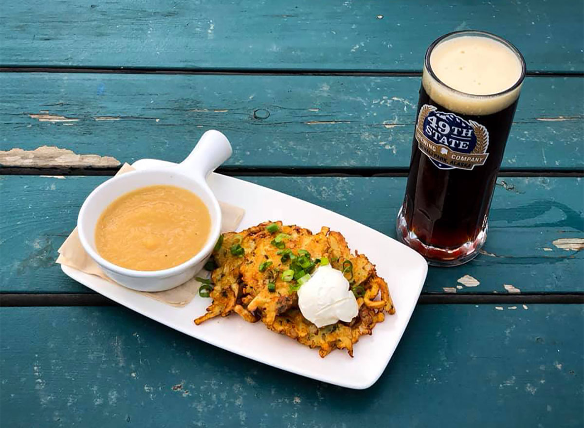 beer and food from 49th state brewing co denali alaska