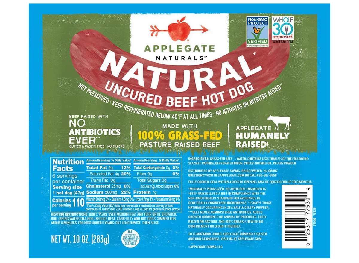 applegate beef hot dog