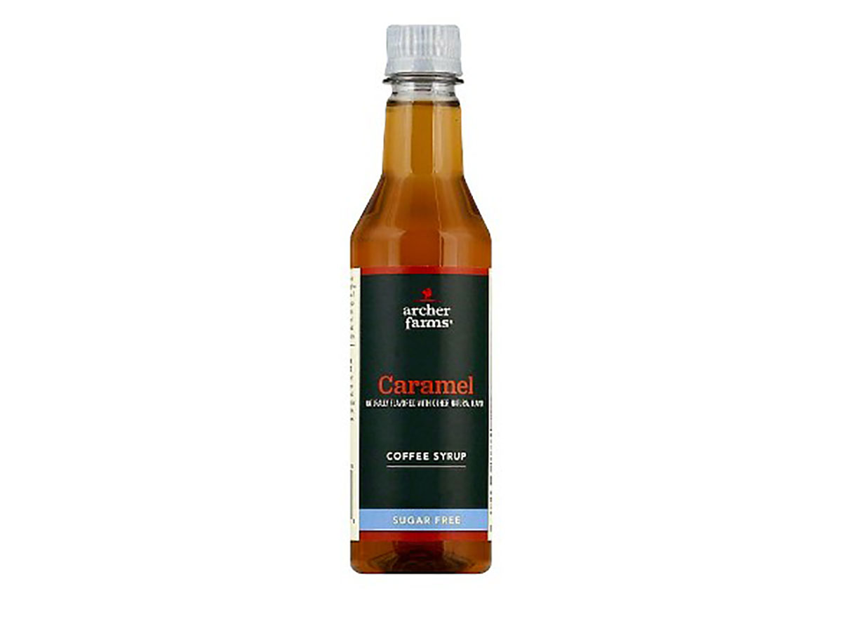 bottle of archer farms sugar free caramel coffee syrup