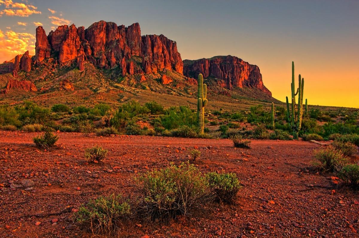 Sunset view of the desert and mountains near Phoenix, Arizona, USA.