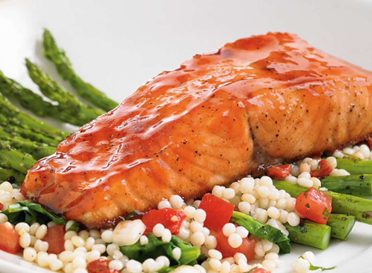 BJs Restaurant and Brewhouse Cherry Chipotle Glazed Salmon