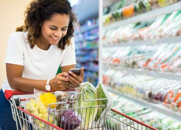 black woman grocery shopping