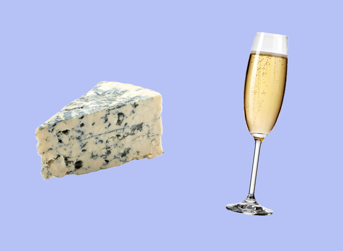 blue cheese and champagne