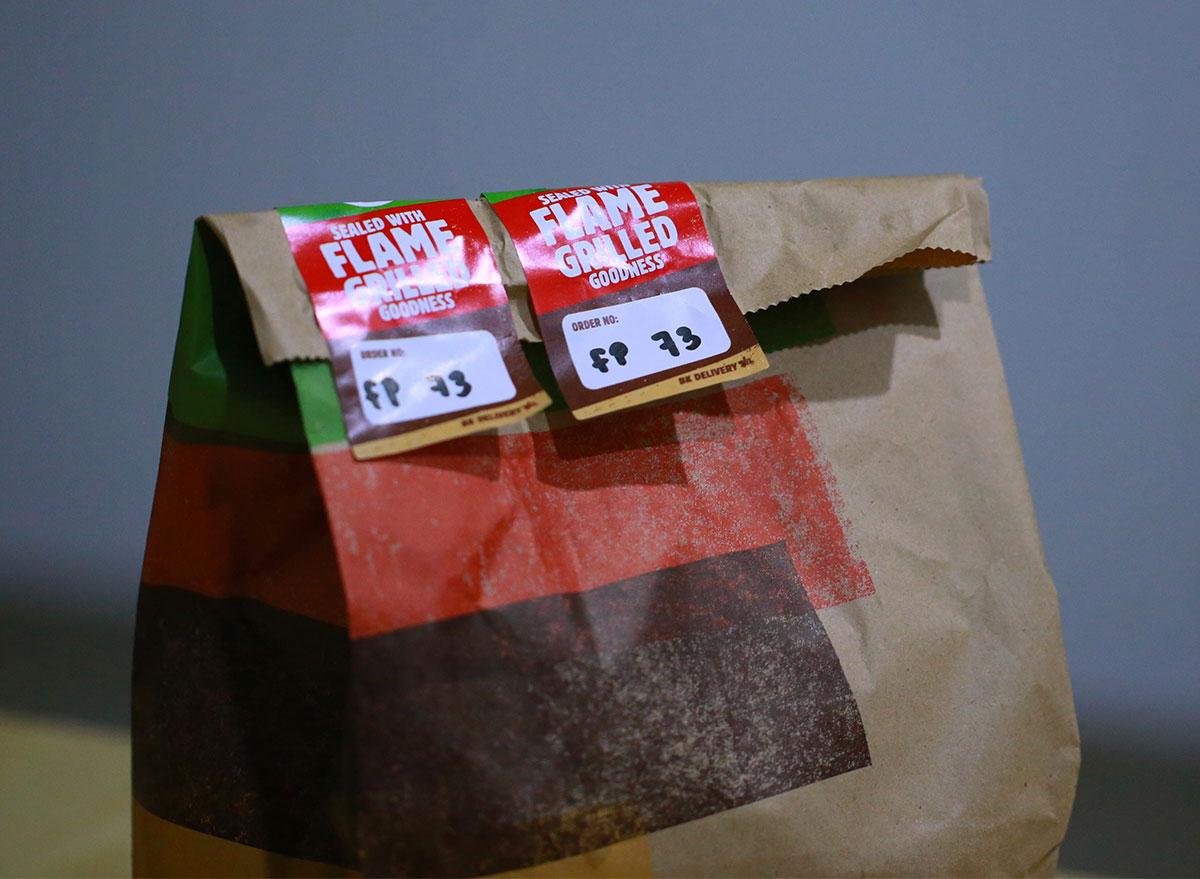 burger king bag for food delivery