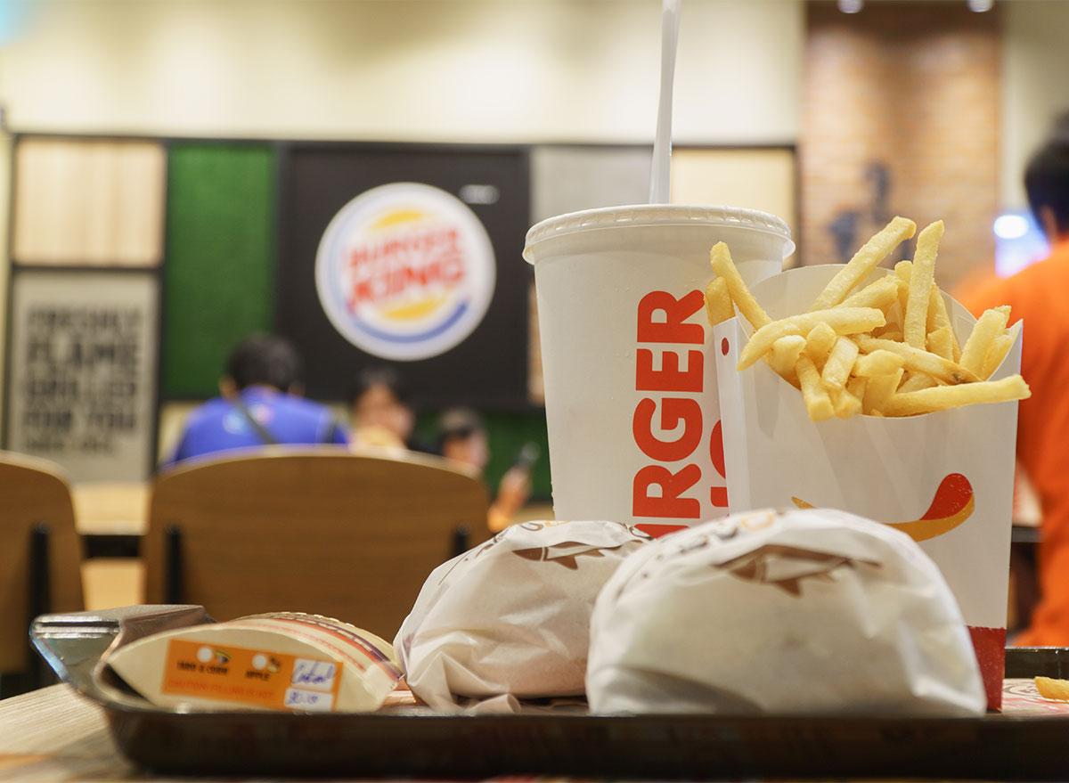 tray of burger king food