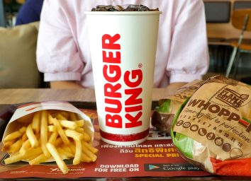 burger king drink fries and burger on tray