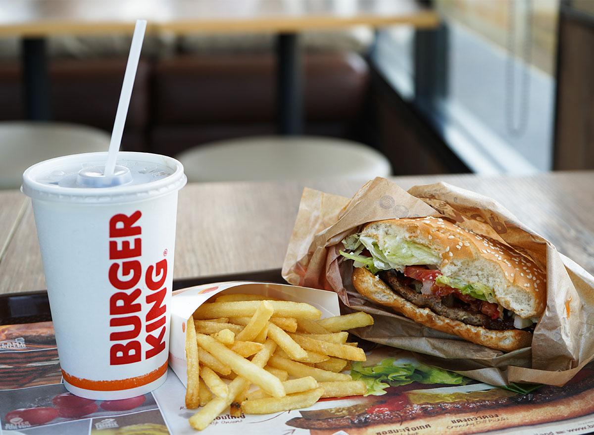 burger king drink fries and burger