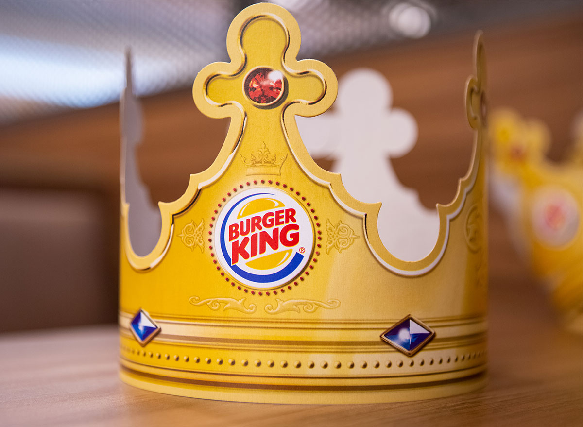burger king paper crown on table