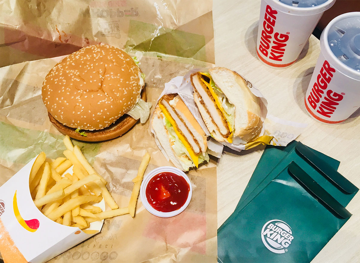 burger king sandwiches fries and drinks