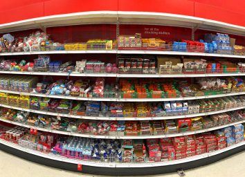 candy aisle of grocery store