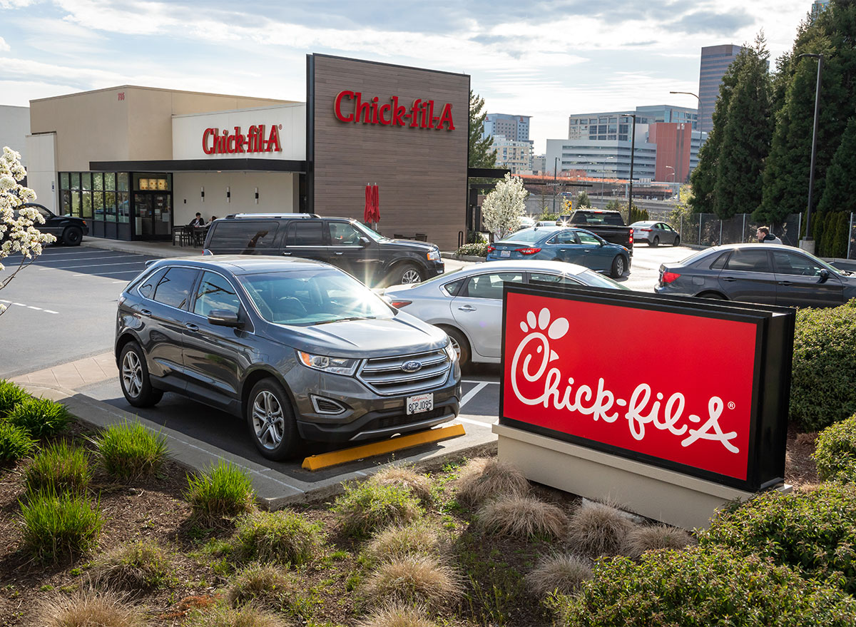 chick fil a parking lot and restaurant exterior