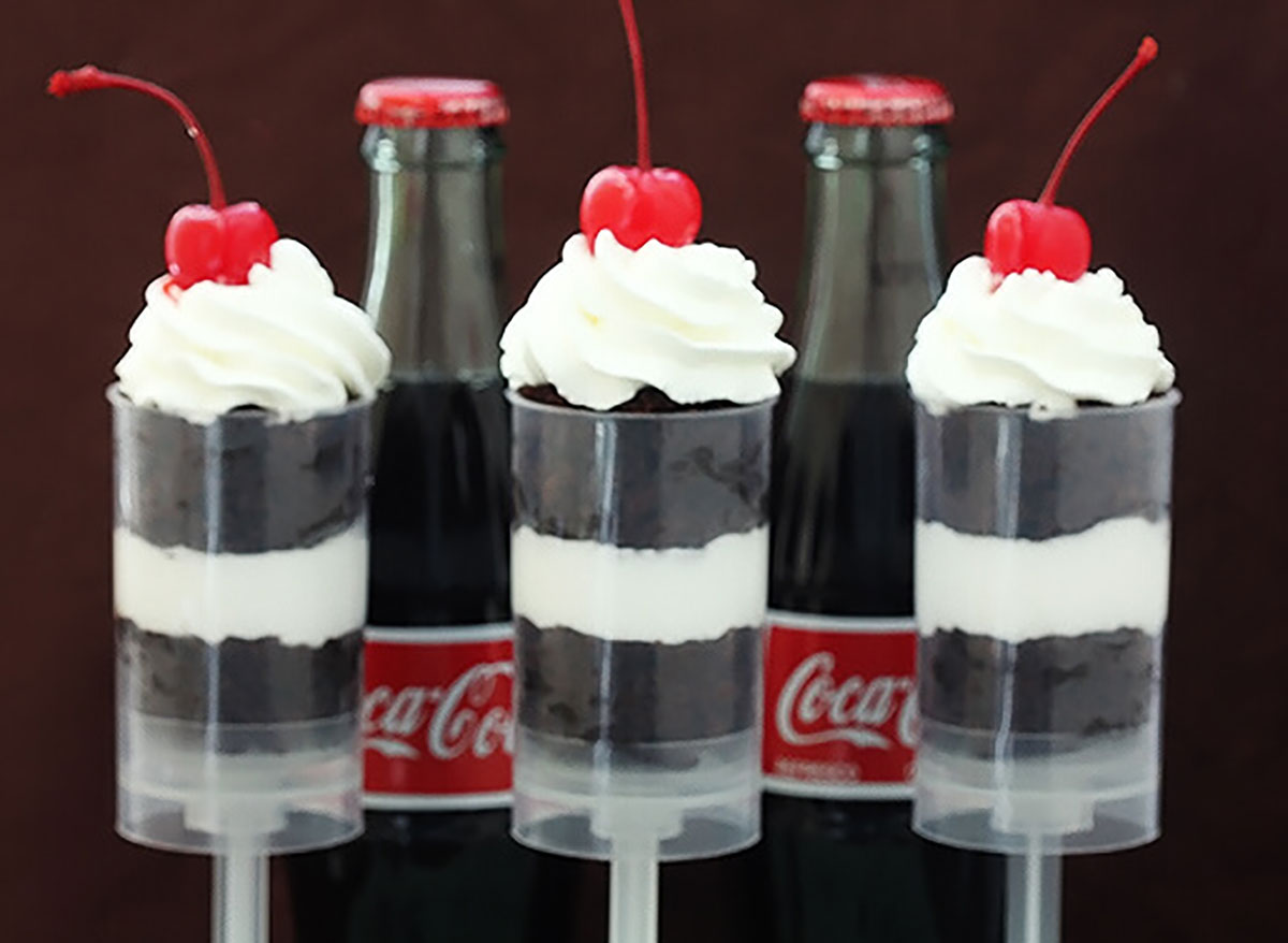individual coke float push up pops with cherries and whipped cream