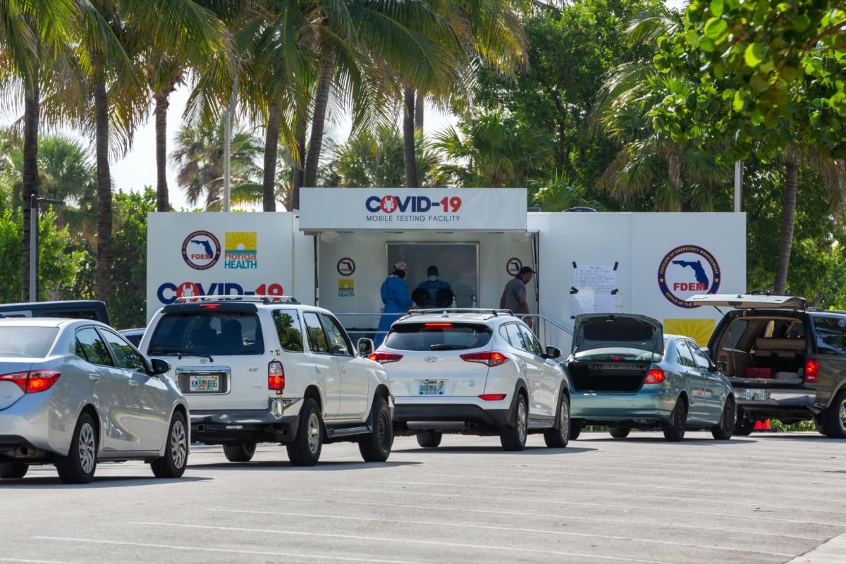 Florida Health and FDEM COVID-19 Mobile Testing Facility. Walk-up coronavirus testing site at Miami Beach, Florida