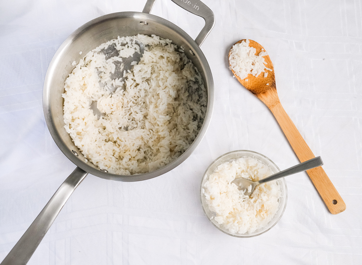 cooked rice from a pot