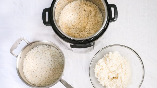 three different ways of cooking rice