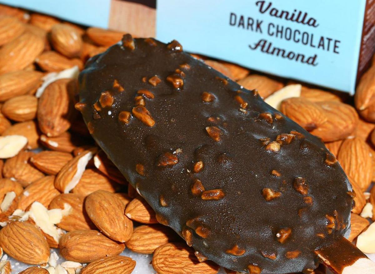 enlightened vanilla dark chocolate almond light ice cream bar